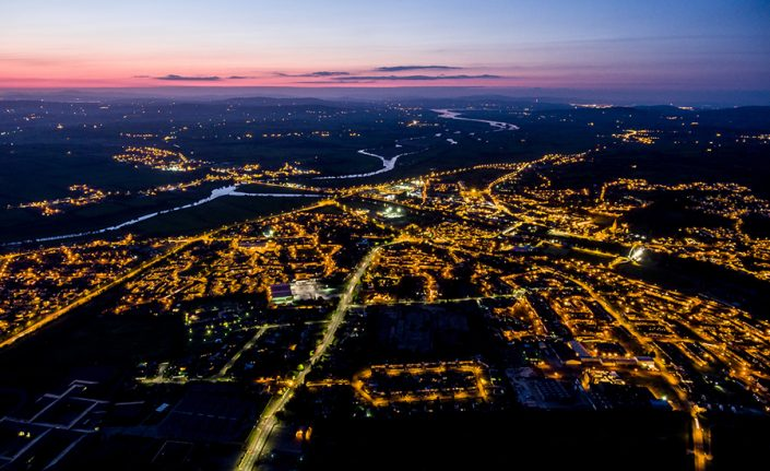arial view of derry at night